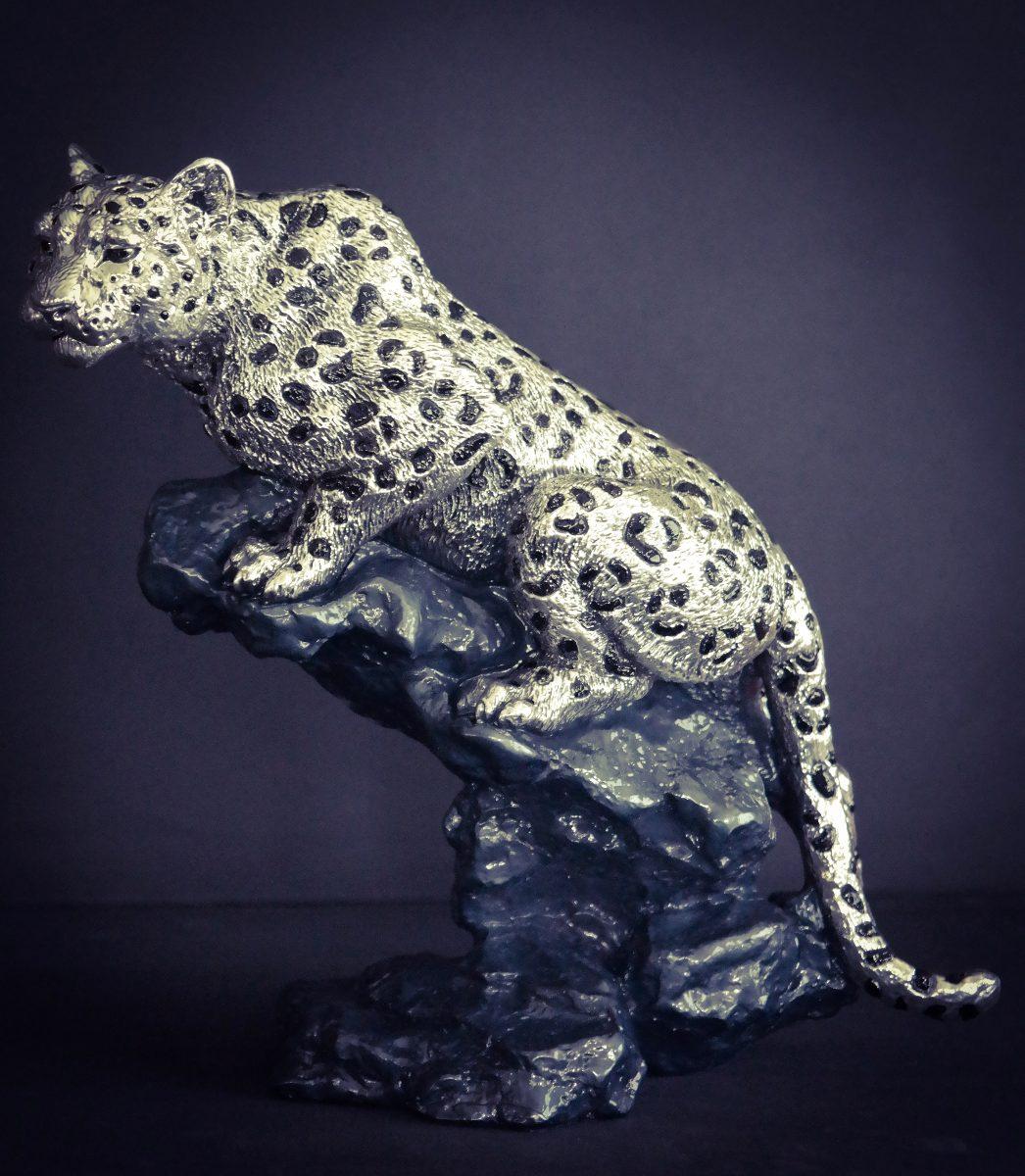 escultura leopardo plata figura decorativa