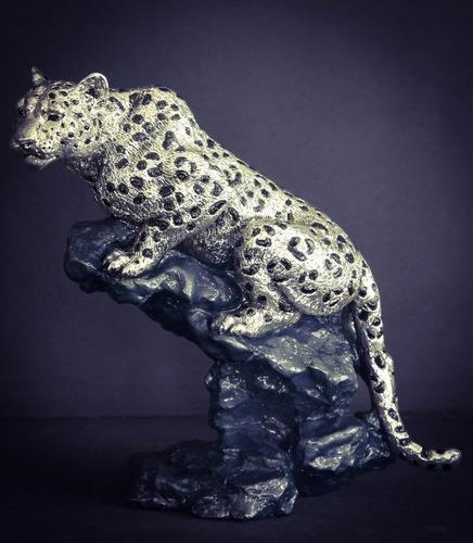 escultura leopardo plata electroformado figura decorativa