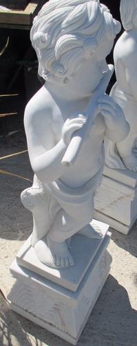 escultura mármol - niño flautista -80  cms