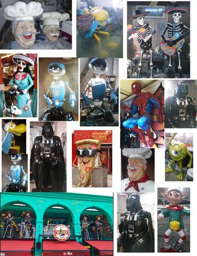 escultura publicitaria personajes muñecos fibra de vidrio