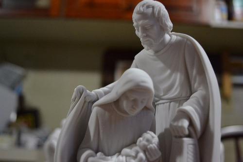 escultura sagrada familia jesus po marmore 17cm made italy