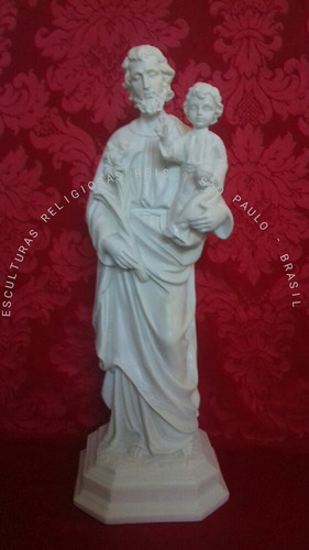 escultura são josé com 60cm pó de mármore linda imagem