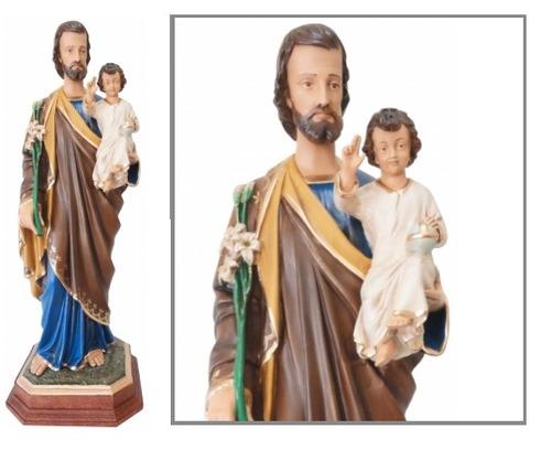 escultura são josé com 85cm - resina - linda imagem