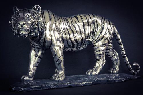 Escultura Tigre De Bengala Plata 999 Electroformado