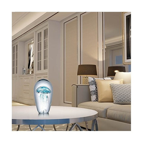 escultura tooarts medusas azules de cristal de la decoración