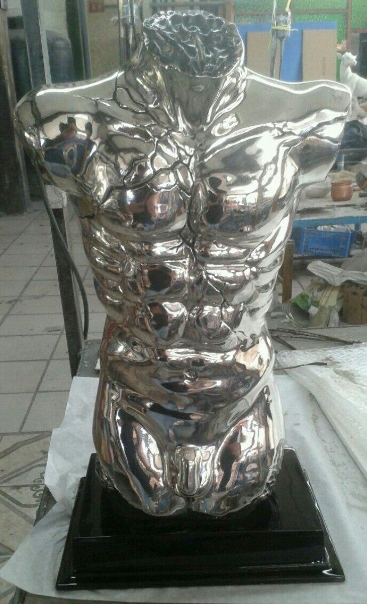 Escultura torso hombre completo plata 999 figura for Escultura decorativa