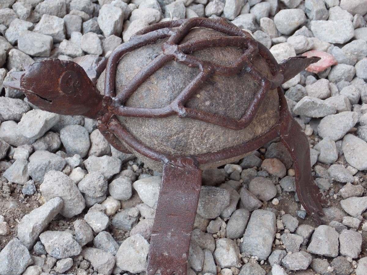 Escultura tortuga artesanal de piedra estilo antiguo - Figuras jardin piedra ...