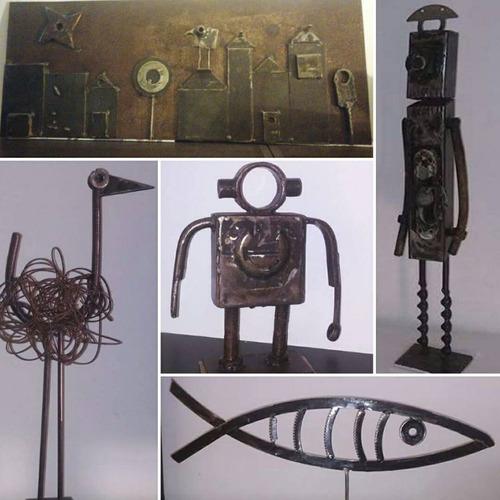 esculturas en metal reciclado