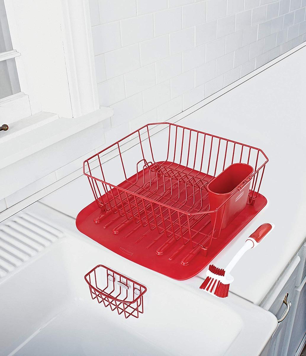 Escurre Platos Antimicrobiana Para Fregadero Rojo Rubbermaid ... 27d7ba24a919