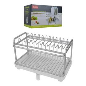 Escurridor / Seca Platos De Aluminio Dos Pisos Con Canaleta