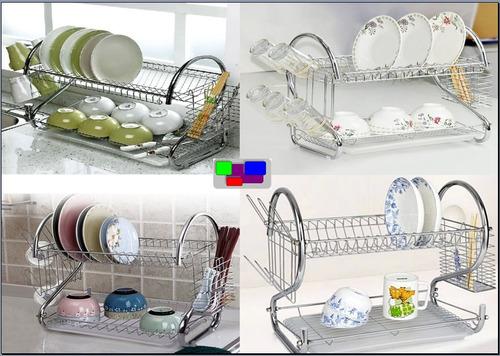 escurridor de platos de 2 niveles vasos cubiertos