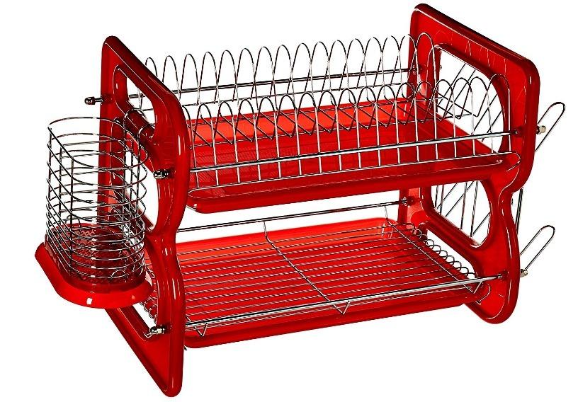 Escurridor Para Trastes Rojo 2 Niveles Euro Home   J -   1 dc0334a77143