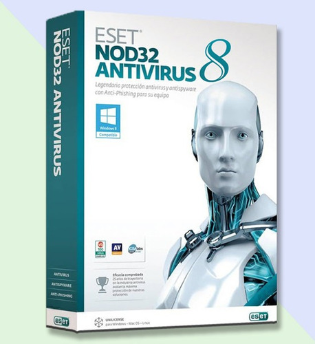 eset nod32 antivirus 8 - 1 año 4 computadoras - facturamos