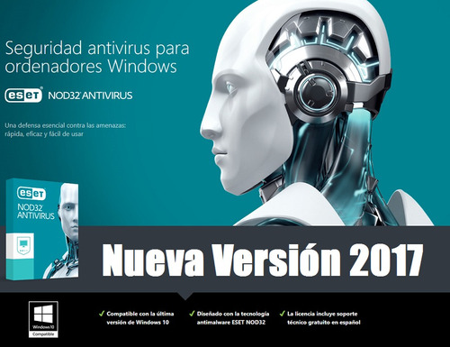 eset nod32 antivirus v10 2017 3 pc - 1 año key digital