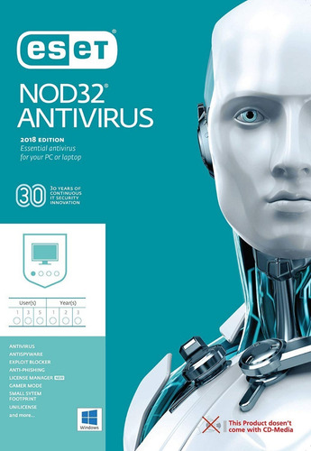 eset nod32 antivirus v12 2019 - 3 pc 2 años super oferta