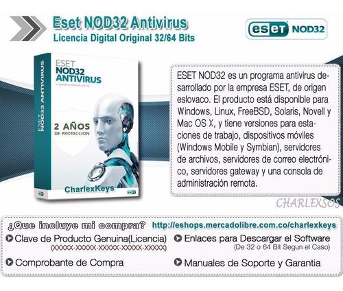 eset nod32 antivirus v13 / licencia original 10 pc 2 años