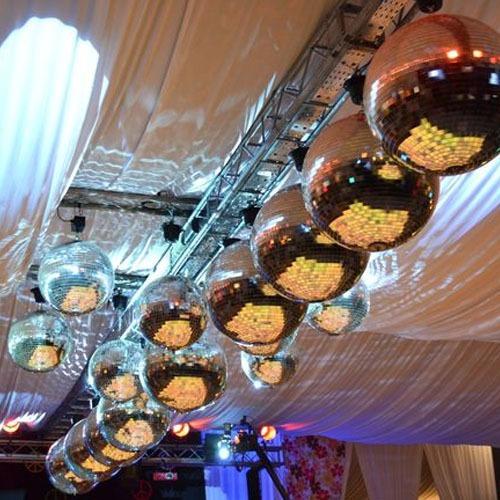 esfera espejada bola 100 espejos 1x1 reforzadas con gancho