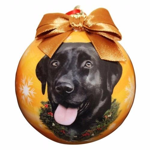 esfera navideña esmaltada labrador negro - hermosa!