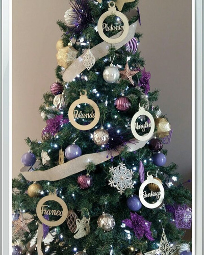 esfera navideña personalizada nombre p/árbol en mdf (12pz)