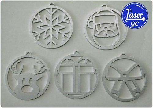 esfera personalizada navideña mdf 10cm - navidad nombre pino