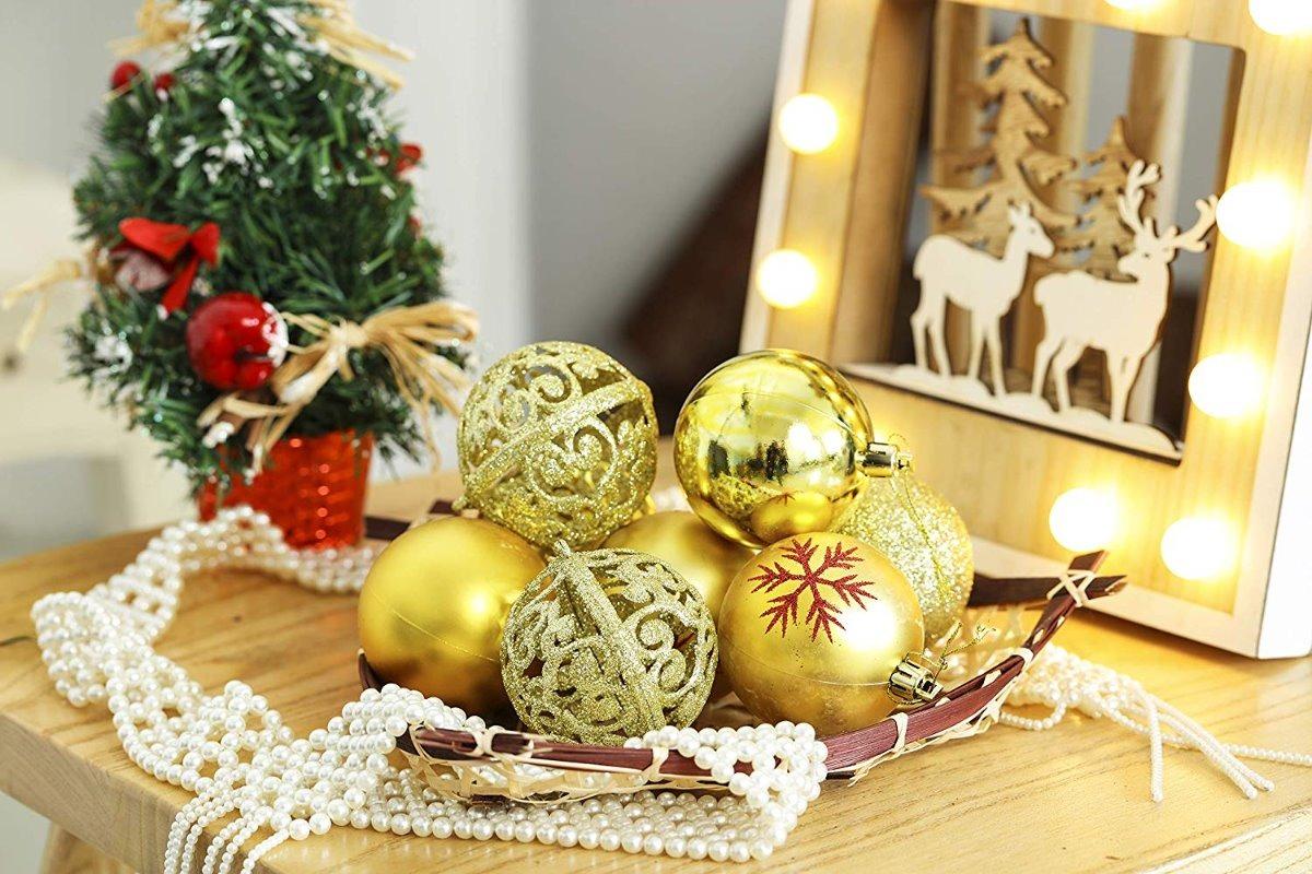 Esferas 25 Pz Decoracion Arbol Navidad Dorado De Lancerpac