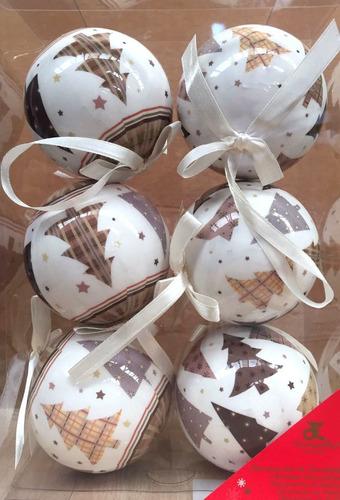 esferas de navidad blanco y cafe acabado porcelana 6 pzas