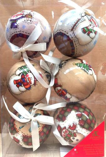 esferas de navidad dorado y blanco acabado porcelana 6 pzas