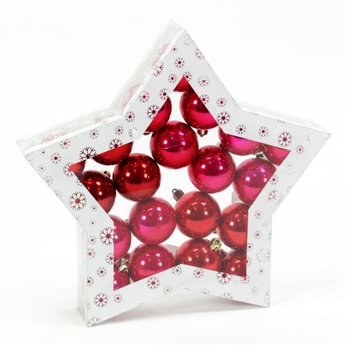 esferas de navidad perla color rojo y rosa 20 esferas