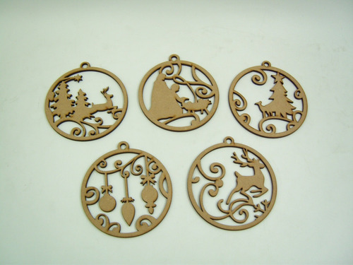 esferas decorativas mdf para árbol navideño láser 10 piezas