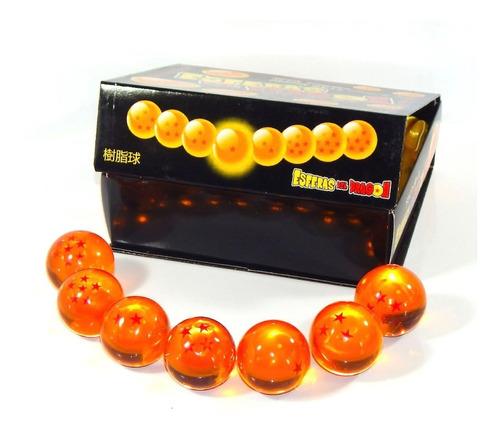 esferas del dragon 7 piezas 4cm caja exhibidor color naranja