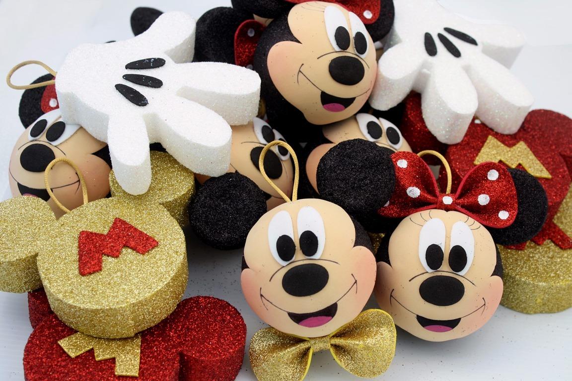 Esferas mickey y minnie mouse navidad en for Adornos navidenos mickey mouse