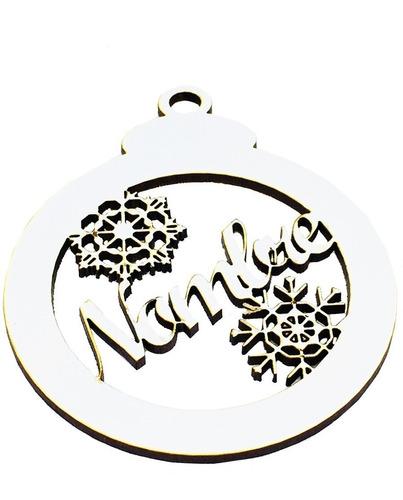 esferas navidad personalizada de 10cm madera mdf mayoreo