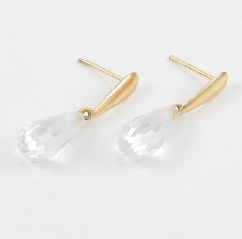 esfinge jóias - brinco gotas cristal pendentes ouro 18k 750.