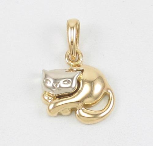 esfinge jóias - pingente gato em duas cores de ouro 18k 750.