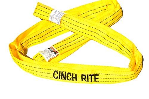 Vertical Load Limit CinchRite Round Sling 10 Feet Yellow Polyester Endless Round Sling 8,400 Pounds