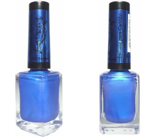 esmalte azul perolado para carimbo 9ml la femme