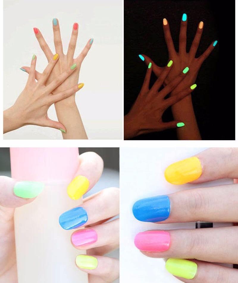 Esmalte De Uñas Fluor Neon Brilla En Oscuridad Manicure X 2 ...