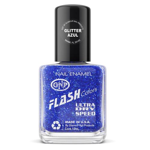 esmalte flash colors de gnp 15ml glitter azul