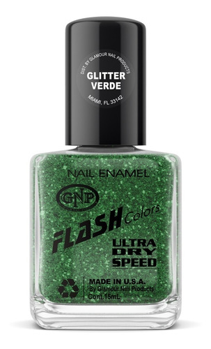 esmalte flash colors de gnp 15ml glitter verde