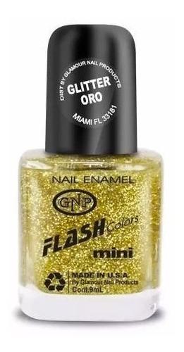 esmalte flash colors de gnp 9ml glitter dorado