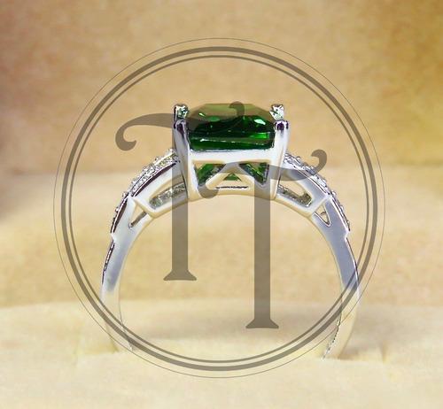 esmeralda plata anillo