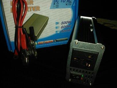 esmeril y convertidor de corriente de 12v a 110v