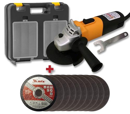 esmerilhadeira lixadeira 4.1/2 115 700w discos corte maleta