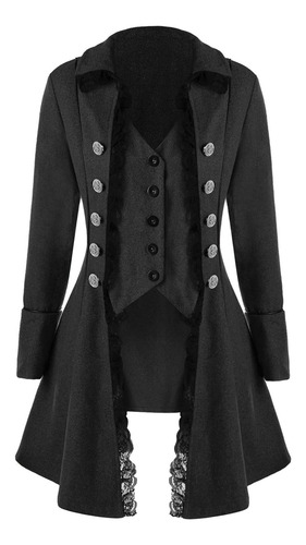 esmoquin orgshine abrigo con botones y adornos de encaje