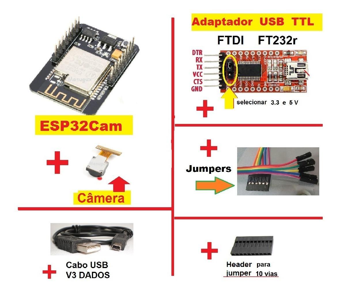 Esp32 Camera Integrada Wifi Adaptador Ttl Ftdi Cabo V3 8266