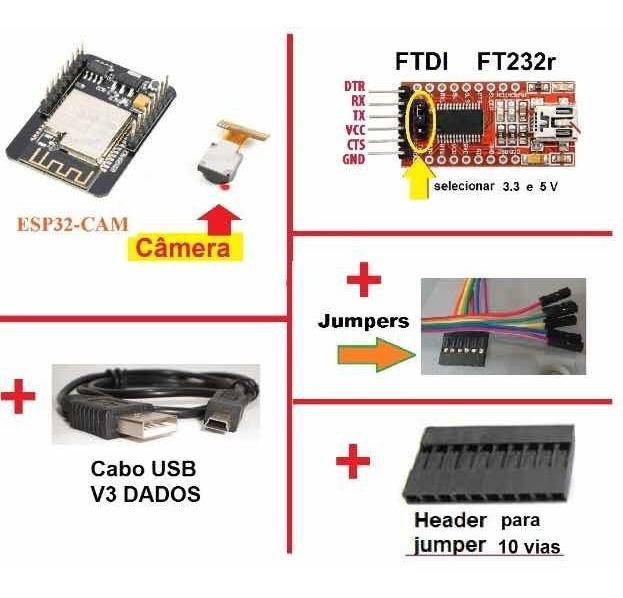 Esp32cam Camera Ftdi Jumper Não Nodemcu Esp8266 Segurança