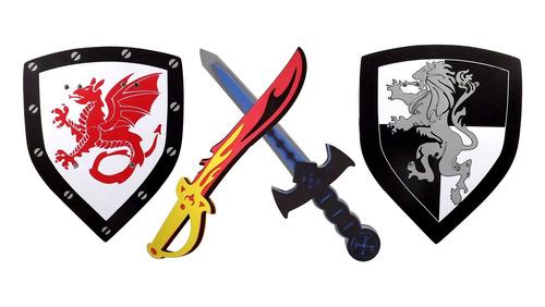 espada de espuma y escudo, paquete con 2,guerrero ninja