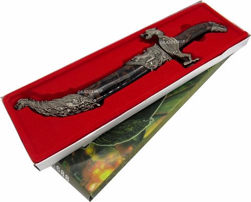 espada decoração punhal adaga dragão 35cm, caixa presente