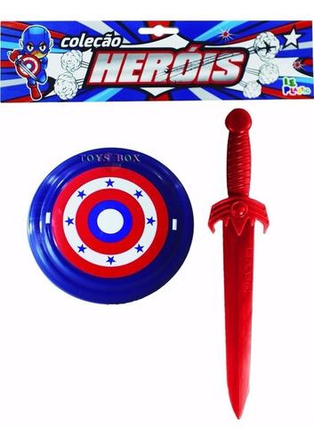 espada e escudo infantil brinquedo plástico heróis