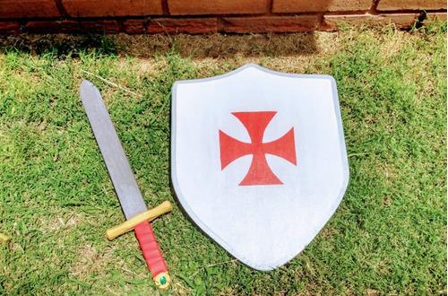 espada + escudo grande rey caballero medieval juguete madera